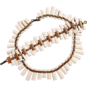 Vintage Matisse White Enamel on Copper Necklace and Bracelet Set