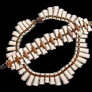 Vintage Matisse White Enamel on Copper Necklace and Bracelet Set