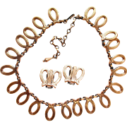 Renoir Copper Loop Necklace and Clip Earring Set