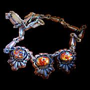 Vintage Mexico Silver Foil Glass Necklace