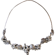Vintage Sterling Mexico TS-79 Choker with Grape Vine Necklace