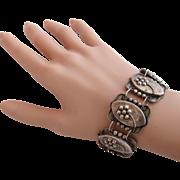 Sterling Mexico Oval Link Flower Bracelet