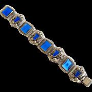 Vintage Mexico Cobalt Blue Glass Aztec Bracelet