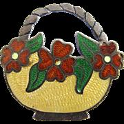 Vintage Sterling Taxco Jose Federico Guilloche Enamel Flower Basket Pin - Eagle 3 Mark