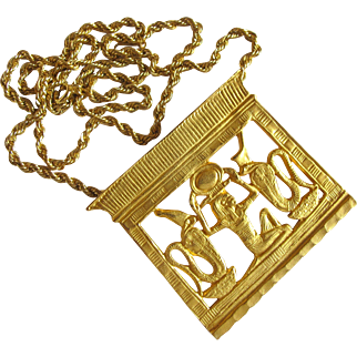 Vintage MMA (Metropolitan Museum of Art) King Tut Exhibit Heh Counterpoise Pendant - In Original Box