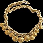 Vintage Monet Dangle Crosshatch Disk Gold Plated Necklace
