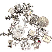 Vintage Monet Silver Tone Charm Bracelet - Many Sterling Charms