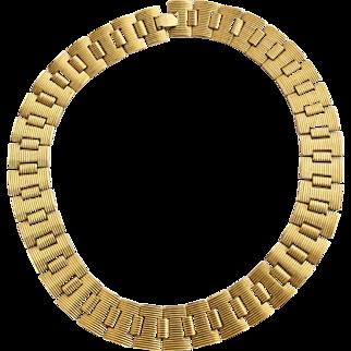 Vintage Collar Monet Gold Toned Ribbed Link Necklace