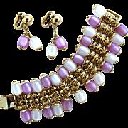 Napier Pastel Moonglow Dangle Bracelet and Earring Set