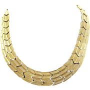 Vintage Napier Gold Tone Chevron Herringbone Necklace