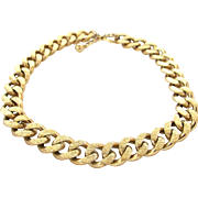 Vintage Napier Heavy Brushed Gold Curb Link Choker Necklace
