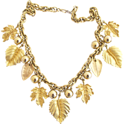 Vintage Napier Brushed Gold Plated Leaves Necklace