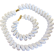 Vintage Napier White Enamel Metal Necklace and Bracelet Parure Set