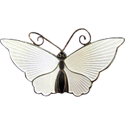 David Andersen White Sterling Butterfly Pin - Larger Size