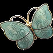 Vintage Jemax Denmark Sterling Blue Enamel Butterfly Pin
