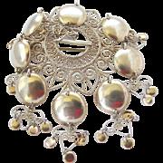 Vintage Norwegian 830 Silver Solje Wedding Brooch