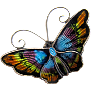 Vintage Sterling Guilloche Norway Butterfly Pin by David Andersen