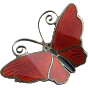 Vintage David Andersen Norway Brick Red Enamel Butterfly Pin