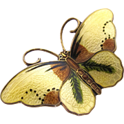 Vintage Hroar Prydz Norway Yellow Butterfly Pin - 2 Inch Sterling Enamel Guilloche