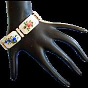 Rare Vintage Albert Scharning Enamel Flower Silver Bracelet