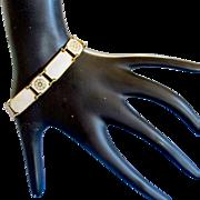 Vintage David Andersen Norway White Enamel Guilloche Silver Bracelet