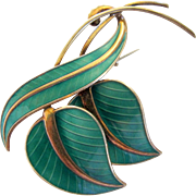 Vintage Albert Scharning Norway Green Enamel Guilloche Leaf Pin / Brooch