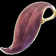 Vintage Finn Jensen Purple Enamel Guilloche Sterling Silver Pin / Brooch
