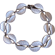 Vintage Norway David Andersen White Enamel Guilloche Double Leaf Bracelet