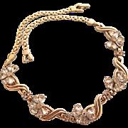 Vintage PENNINO Rhinestone Flower Choker Necklace
