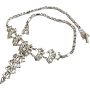 Vintage Phyllis Sterling Silver Clear Rhinestone Drop Special Occasion Necklace