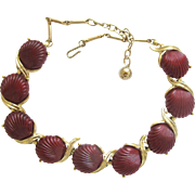 Vintage Lucite Maroon Clam Shell Choker Necklace
