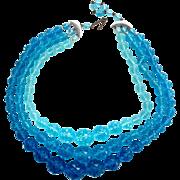 Vintage Multi Blue Lucite Faceted Bead Necklace