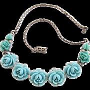 Vintage Celluloid Carved Light Blue Flower Choker Necklace