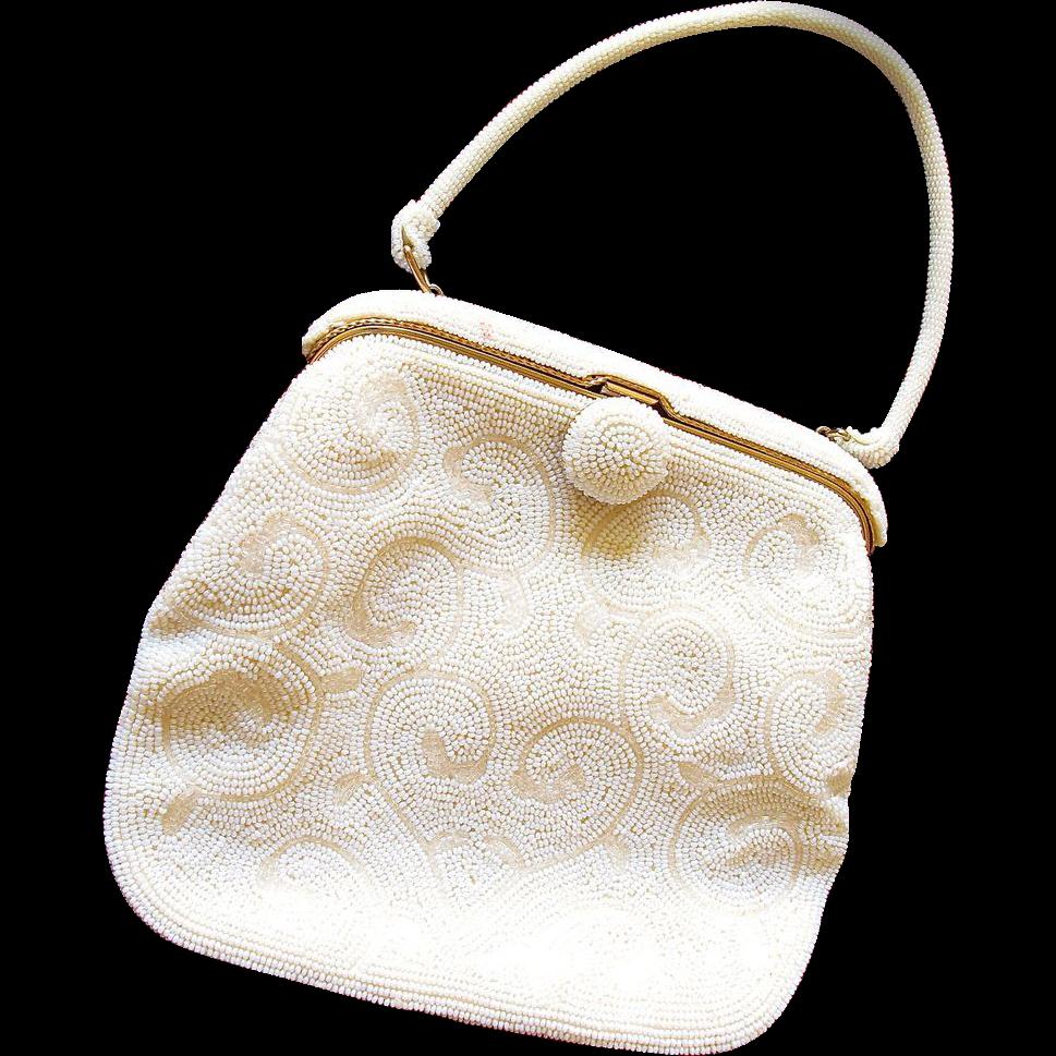 white seed bead purse by bag by debbie from 2heartsjewelry