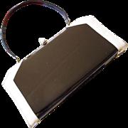 Black Patent Leather and Cream Handbag