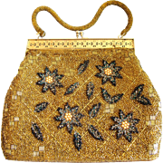 Vintage Flower and Gold Bead Purse