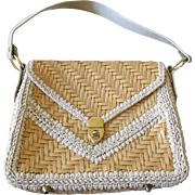 Vintage Marcus Brother Plastic Woven Beige Purse