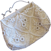 Magid Hand Beaded in France Cream Special Occasion Purse