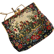 Vintage Castle Tapestry Purse Made in France