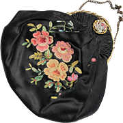 Vintage Carty Made in France Black Tambour Embroidered Purse