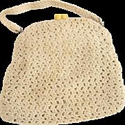 Vintage Crochet Beige Purse Mid Century