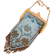 Mandalian Blue Flower Design Metal Mesh Purse - 1920's Era