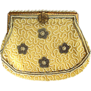 Belgium Beige and White Beaded Clutch Purse