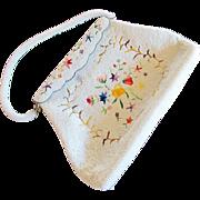 Hong Kong White Glass Bead and Multicolor Embroidered Handbag / Purse