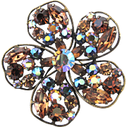 Regency Amber Rhinestone Flower Pin