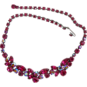 Regency Fuchsia Rhinestone Choker Necklace