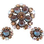 Vintage Rare Regency Saphiret Brooch and Clip Earring Set