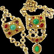 Ornate Gold Tone Signed Robert Cabochon Parure