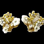 Signed Robert White Bead Flower Clip earrings