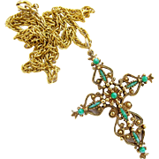 Vintage Roma Ornate Gold Tone Cross Pendant Necklace